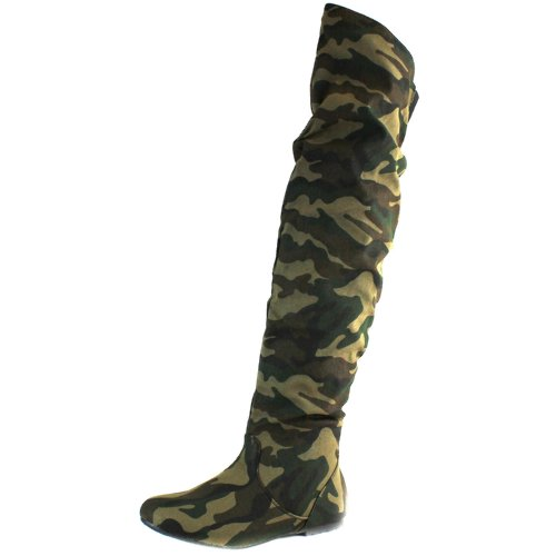 DailyShoes Women's Fashion-Hi Over the Knee Thigh High Flat Slouch Boots