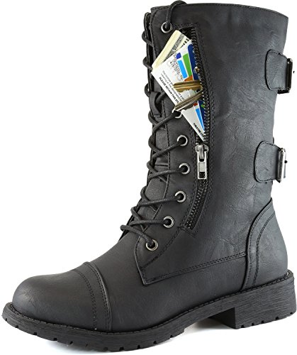 Women's Military Up Buckle Combat Boots Mid Knee High Exclusive Credit Card Money Pocket Pouch, 9