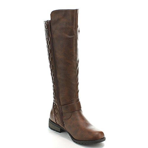 FOREVER MANGO-21 Women's Winkle Back Shaft Side Zip Knee High Flat Riding Boots, Color:BROWN, Size:8