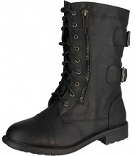 Top Moda Pack-72 Women's Back Buckle Lace Up Combat Boots Black 9