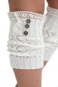 Women's Boot Cuffs Vintage Style 3 Button Ivory by Boutique Socks