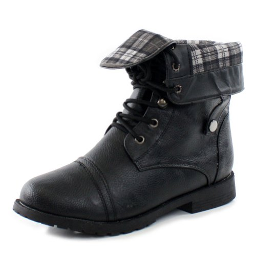 West Blvd Womens LAGOS COMBAT Boots Ankle Lace Up Military Army Fold Over Shoes ,Black ,8