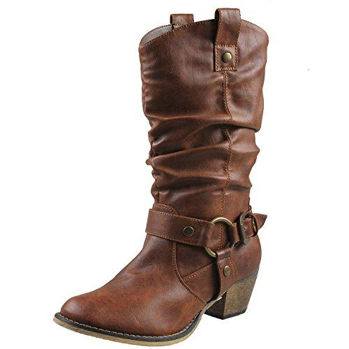 Refresh Women Wild-02 Western Style Cowboy Boots,Tan,8.5