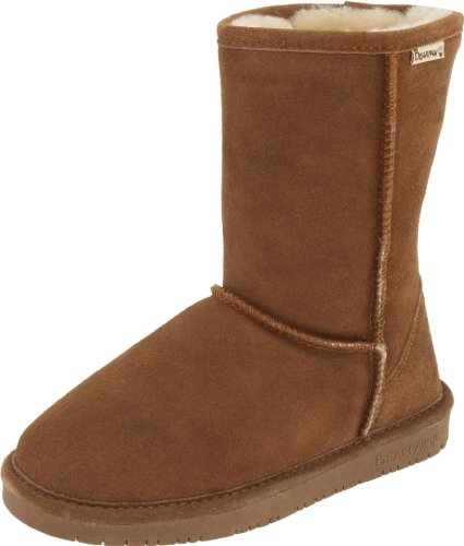 BEARPAW Women's Emma Short Boot,Hickory/Champagne,10 M US