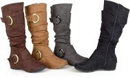 Brinley Co. Womens Regular and Wide-Calf Buckle Knee-High Slouch Microsuede Boot