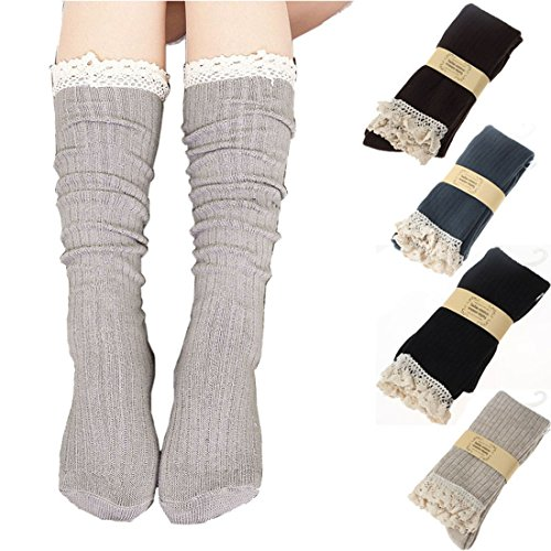 ABC(TM) Women Crochet Lace Trim Cotton Knit Footed Leg Boot Knee High Stocking (Beige)