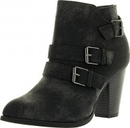 Forever Camila-64 Womens Fashion Chunky Heel Buckled Strap Ankle Booties