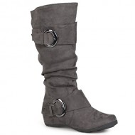 Brinley Co. Womens Buckle Knee-High Slouch Boot In Regular and Wide-Calf Sizes Grey 8.5 Wide Calf