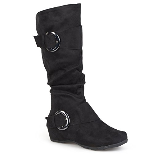 Brinley Co. Womens Buckle Knee-High Slouch Boot In Regular and Wide-Calf Sizes Black 8