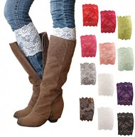 HP95(TM) Womens Stretch Lace Boot Leg Cuffs Soft Laced Boot Socks (A)