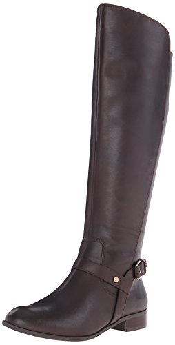 Anne Klein Women's Kahlan Leather Riding Boot, Dark Brown, 10 M US