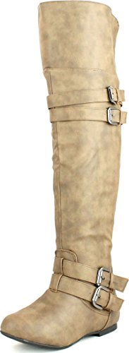 Top Moda Womens Night-79 Over The Knee Round Toe Buckle Riding Flat Boots,Cognac,8