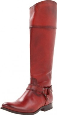 FRYE Women's Melissa Harness InSide-Zip Boot, Burnt Red Smooth Vintage Leather, 11 M US