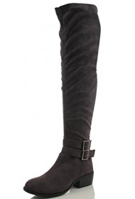 Breckelle's Women's Medison -16 Suede Double Buckle Strap Over the Knee Flat Boot, Grey, 9 M US