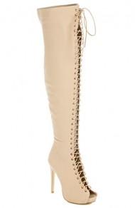 Glaze Thigh High Open Toe Stiletto Heel Lace Up Side Zipper Boots
