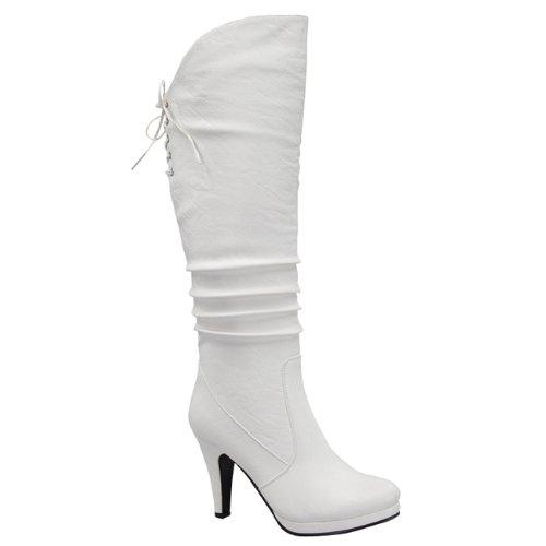 Top Moda Win-40 Women's Knee Thigh High Platform Round Toe Boots,White,8