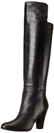 Nine West Women's Quikstep Leather Slouch Boot, Black, 10.5 M US