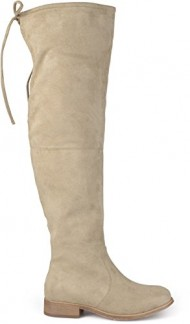 Brinley Co. Womens Wide Calf Faux Suede Over-the-knee Boots Taupe 9.5 Wide Calf