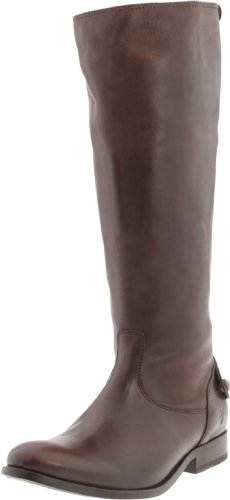 FRYE Women's Melissa Button Back-Zip Boot, Dark Brown Smooth Vintage Leather, 8.5 M US