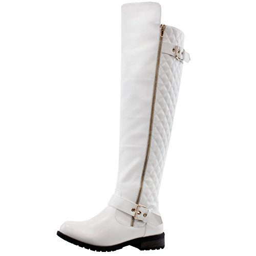West Blvd Detroit Quilted Riding Boots, White Pu, 6.5
