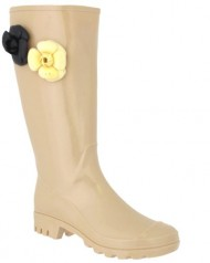 Capelli New York Shiny Solid With Jelly Flower Trims Ladies Basic Body Jelly Rain Boot Nude 8