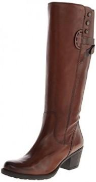 Clarks Women's Maymie Stellar Riding Boot,Cognac Leather,10 M US