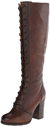 FRYE Women's Parker Tall Lace-Up Riding Boot, Dark Brown, 8.5 M US