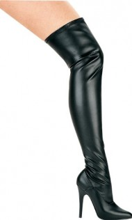 ELLIE 511-ALLY Women's 5″ Stiletto Heel Thigh High Stretch Boot Pointy Toe, Color:Black PU, Size:7