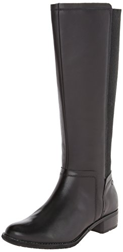 Hush Puppies Women's Lindy Chamber Riding Boot, Black/Black Waterproof Leather, 8.5 M US