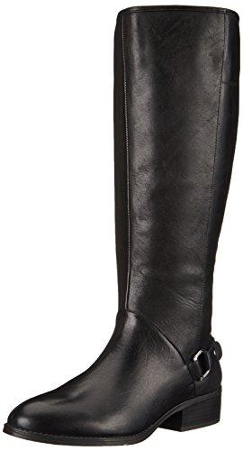 Lauren Ralph Lauren Women's Micaela Wide Calf Riding Boot, Black Burnished Calf, 9 B US