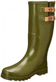 Chooka Women's Top Solid Rain Boot, Olive Drab, 7 M US