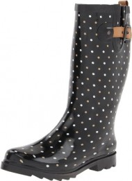 Chooka Women's Classic Dot Rain Boot, Black, 9 M US