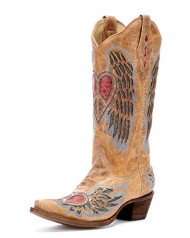 Corral Boot Women's Antique Saddle/Blue Jean Wing and Heart Tan Leather Boots-9.5M US