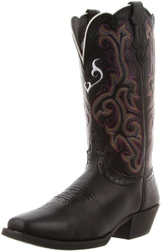 Justin Boots Women's Stampede Collection 12″ Boot Wide Square Single Stitch Toe Western Rubber Outsole,Black Deercow,8 B US