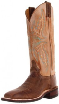 Justin Boots Women's U.S.A. Bent Rail Collection 13″ Boot Wide Square Double Stitch Toe Performance Rubber Outsole,Arizona Mocha/Fogged Camel,8 B US