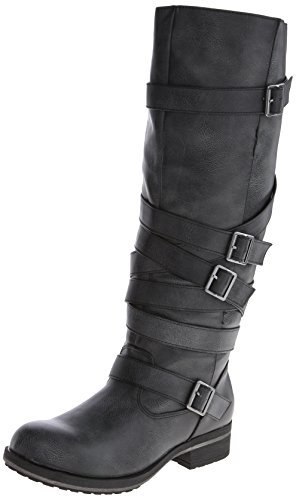 Madden Girl Women's Lilith Motorcycle Boot,Black,7.5 M US
