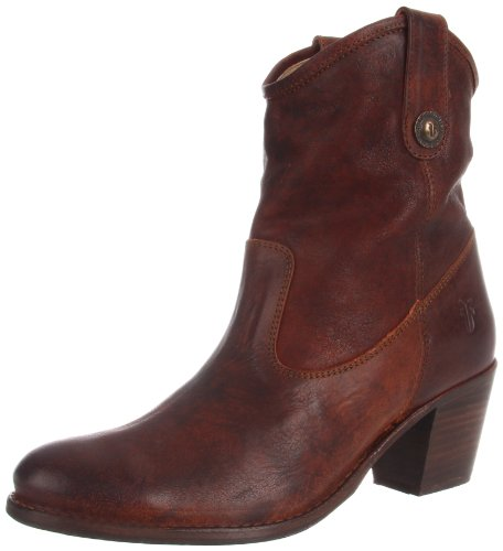 FRYE Women's Jackie Button Short Boot, Cognac Pressed Nubuck, 10 M US