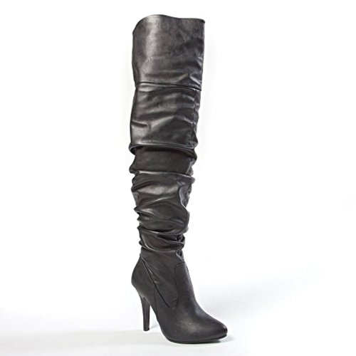 FOREVER LINK FOCUS-33 Women's Fashion Stylish Pull On Over Knee High Sexy Boots, Color:BLACK PU, Size:7