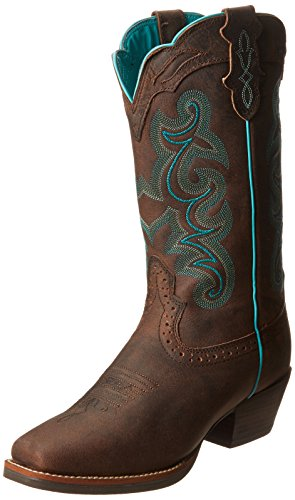 Justin Boots Women's Silver Collection 12″ Punchy Boot Wide Square Single Stitch Brown Rubber Outsole,Chocolate Puma Buffalo,9.5 C US