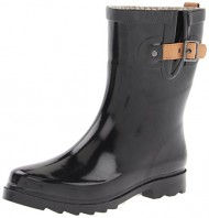 Chooka Women's Top Solid Mid Rain Boot, Black Shiny, 8 M US