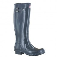 Hunter Womens Original Gloss Graphite Rain Boot – 6