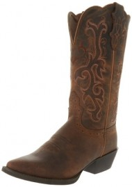 Justin Boots Women's Stampede Collection 12″ Boot Narrow Rounded Toe Western Rubber Outsole,Tan Puma Cowhide,8.5 C US