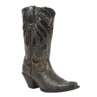 Durango Women's Crush Sequin Inlay And Studded Cowgirl Boot Snip Toe Black US