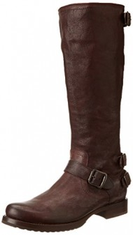 FRYE Women's Veronica Back-Zip Boot, Dark Brown, 8.5 M US
