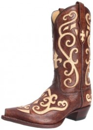 Tony Lama Women's Earth with Creme Inlay VF3024 Boot,Earth Santa/Creme,9 B