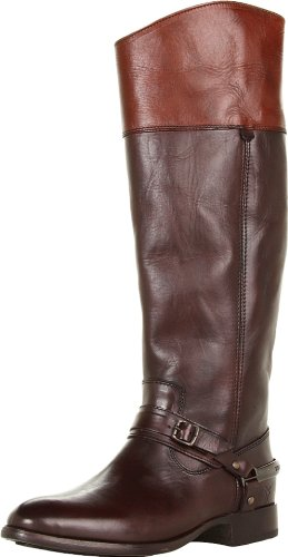 FRYE Women's Lindsay Spur Boot, Dark Brown Multi Smooth Full Grain, 8.5 M US