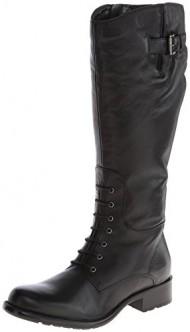 Clarks Women's Mullin Clove Riding Boot,Black Leather,7.5 M US