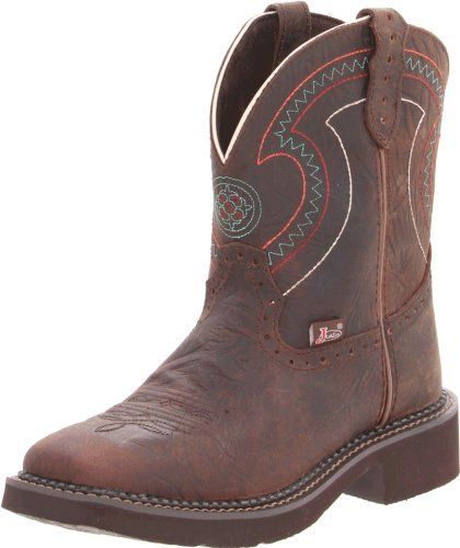 Justin Boots Women's Gypsy Collection 8″ Boot Wide Square Double Stitch Toe Brown Rubber Outsole,Barnwood Brown Cowhide/Barnwood Brown Cowhide with Diamond Cut Pull Strap,10 B US