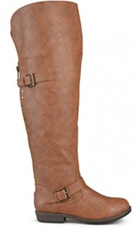 Brinley Co. Womens Wide Calf Over-the-knee Inside Pocket Buckle Studded Boots Chestnut 8 Wide Calf