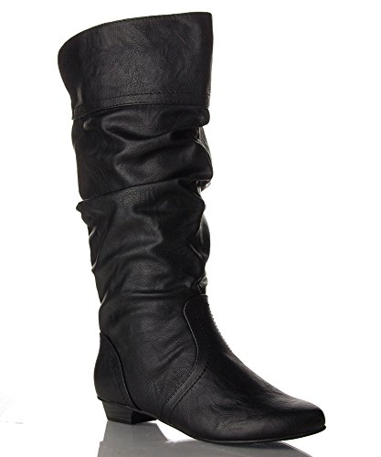 ROF Women's Basic Slouchy Knee High Flat Boot BLACK PU (8.5)